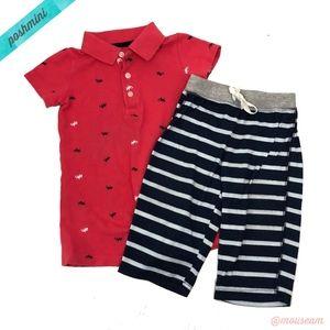 [Carter's] Boys Coral Romper & Striped Pants Set